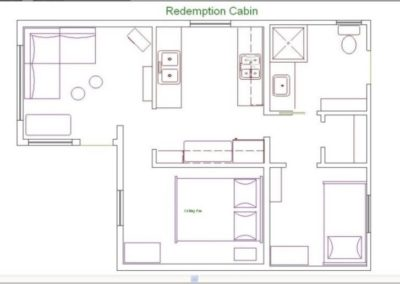 Redemption Cabin is an extraordinary vacation rental cabin near RMNP in Estes Park CO USA. This is an image of its floorplan.