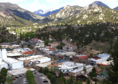 This is an image of Historic Downtown Estes Park, CO in Summer
