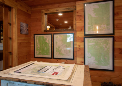 Storybook Exploration Cabin is an Extraordinary Mountain Town Vacation Home in Estes Park CO USA near Rocky Mountain National Park. This is an image of the Map Room.