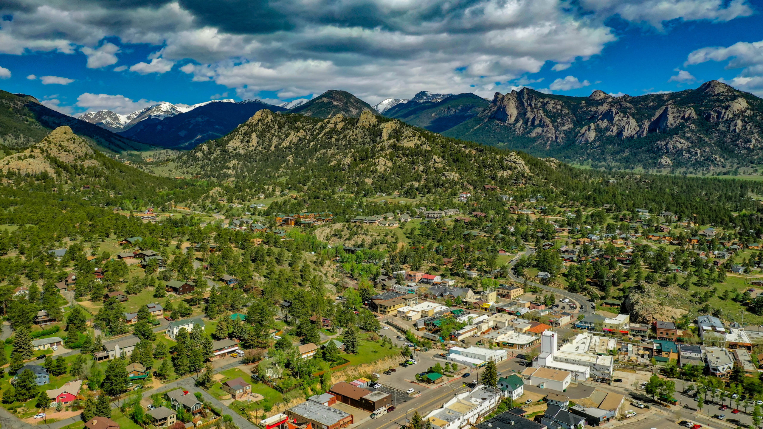 This is a close up aerial image of Historic Downtown Estes Park.  From This Mountain Life Basecamp walk north 2 or 3 river lined blocks to Riverside Park, Elkhorn Drive, Bond Park, Farmers Market, main attractions and Town Municipal Building.
