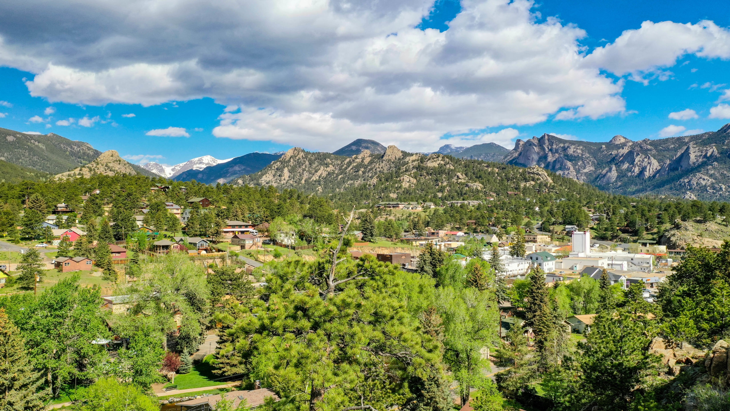 This is an image taken 100' above Redemption, Exploration and Reflection Cabins pointing northwest over Baldwin Park up Fall River into Endo Valley of the Rocky Mountain National Park. The right side of the image points north over downtown Estes Park to Lumpy Ridge large in the background.