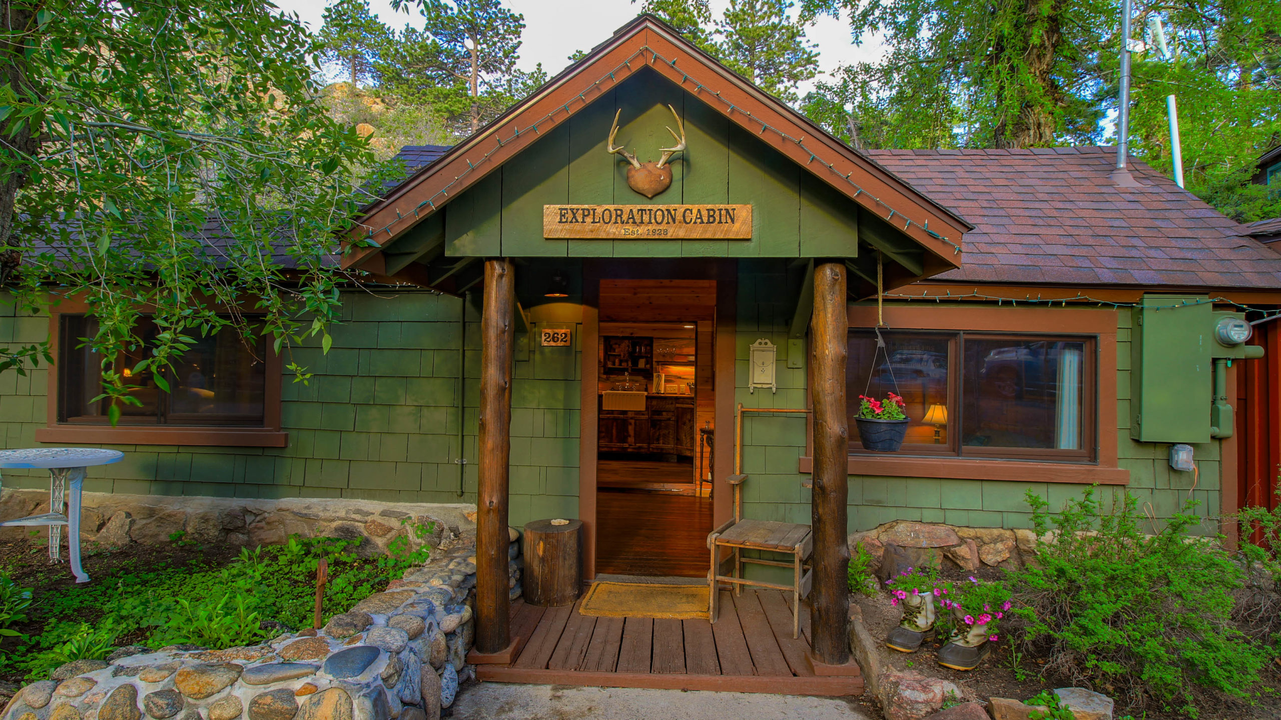 This is an image of Storybook Exploration Cabin is an Extraordinary Mountain Town Vacation Home in Estes Park CO near Rocky Mountain National Park.