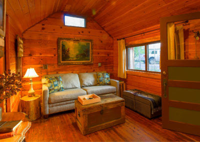 Exploration Cabin is an extraordinary Mountain Town vacation rental in Estes Park Co near Rocky Mountain National Park. This is an image of its front room.