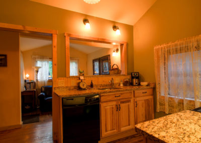 Redemption Cabin is a vacation rental in Estes Park Co. Here is an image of its kitchen.