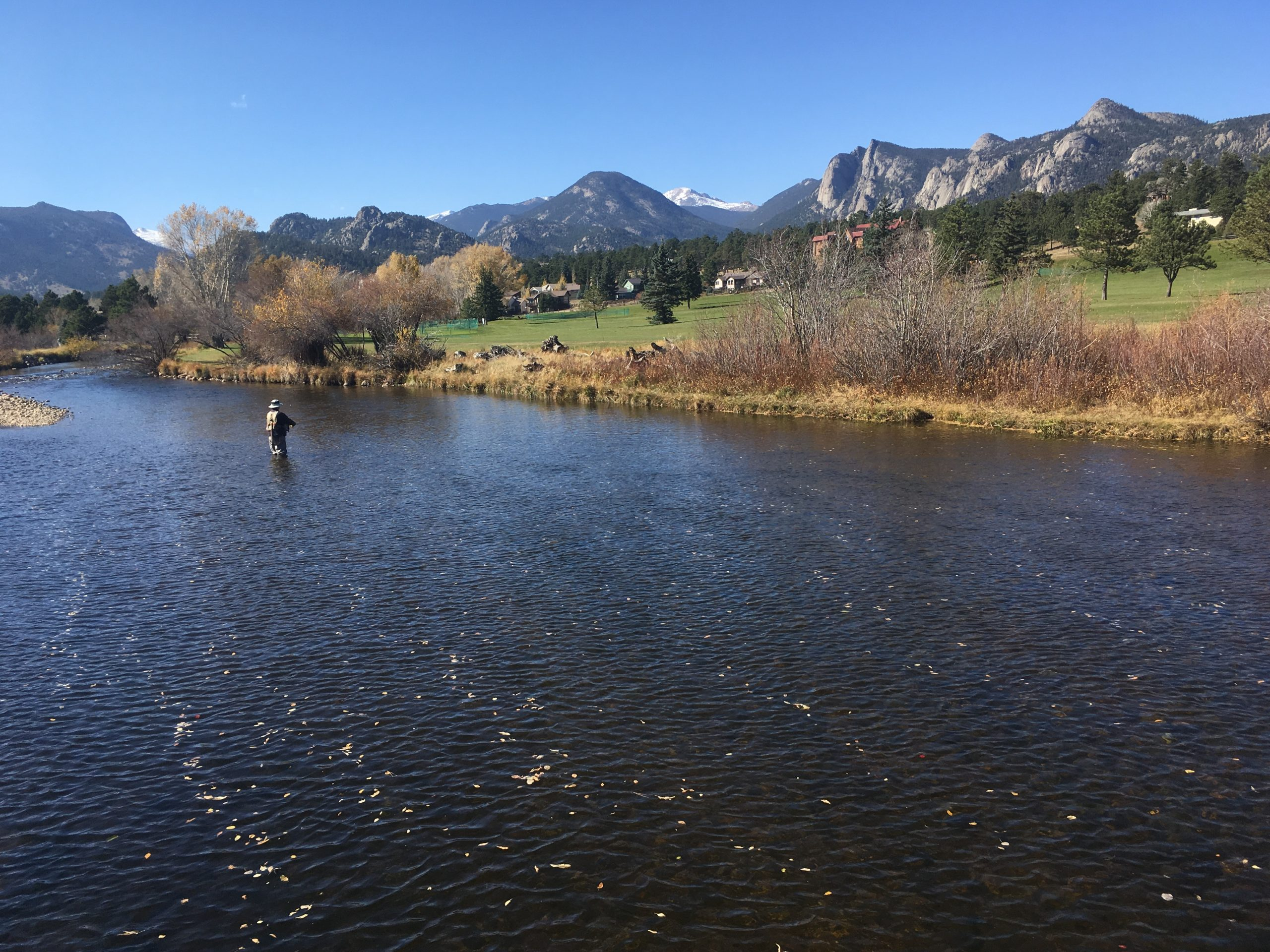 This is an image of Fly fishing the Big Thompson River before it empties into Estes Lake  one mile from This Mountain Life Basecamp and Vacation Rental Cabins.