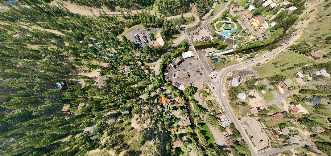 This is an aerial image looking down at the Basecamp and Redemption, Exploration and Redemption Cabins.  The amber diamond marks the idyllic spot.