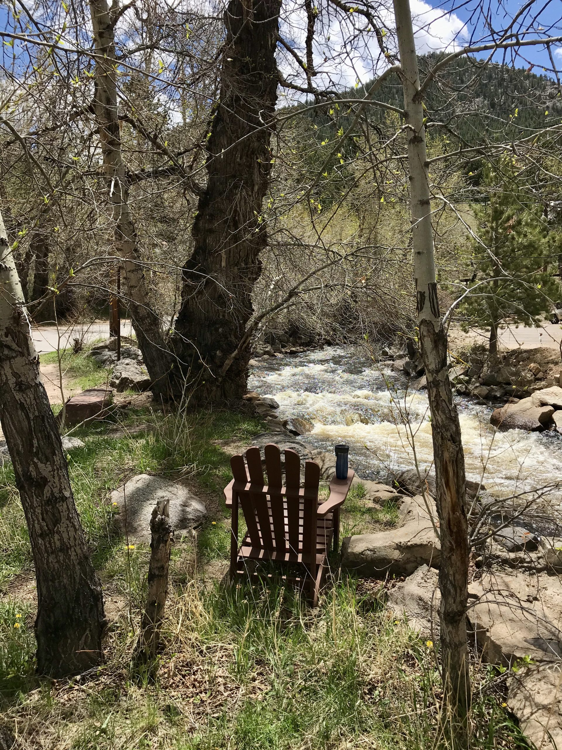 This is an image of This Mountain Life's quiet spot by the rushing Big Thompson River that flows out of Rocky Mountain National Park